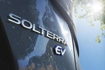Subaru Solterra logo close-up promo photo