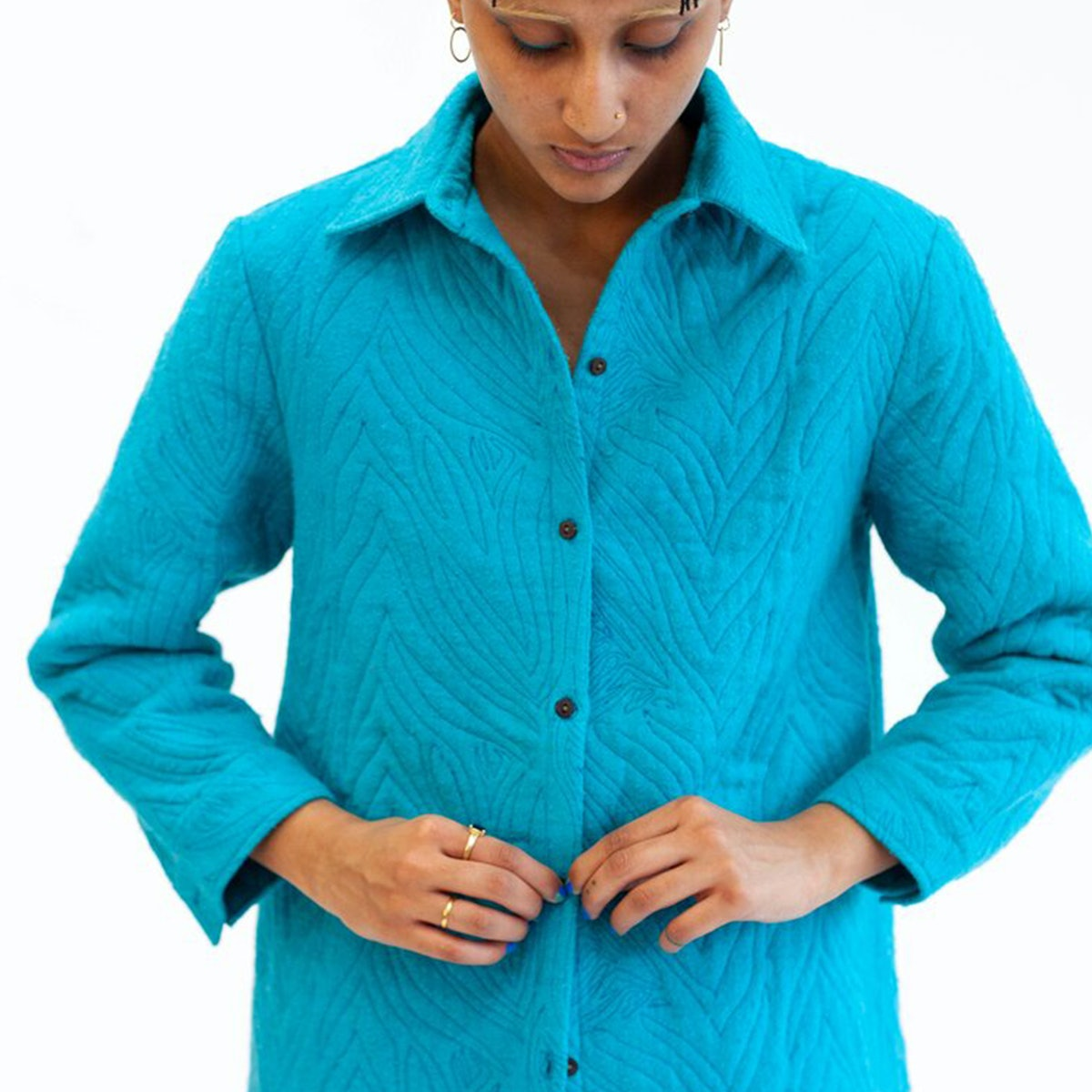 Abacaxi Reversible quilted button-down