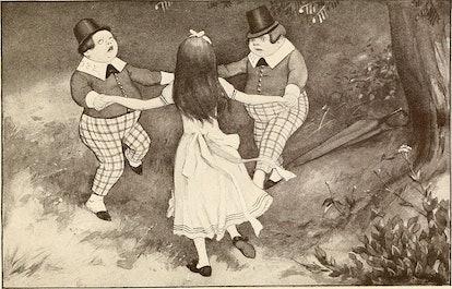 Alice, Tweedledum and Tweedledee play round the mulberry bush of the nursery rhyme.