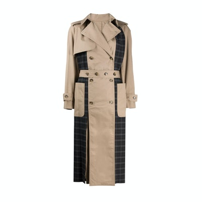 Rokh Checked-panel trench coat