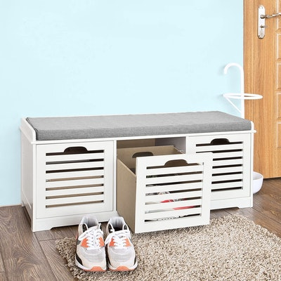 Haotian Storage Bench With 3 Drawers & Cushion
