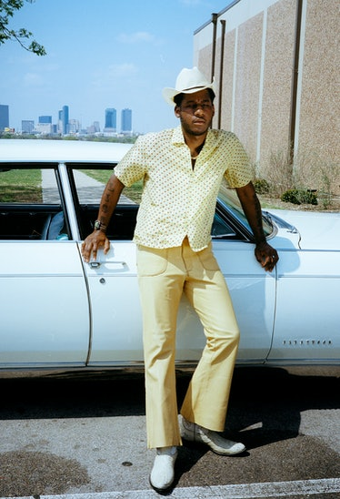 Leon Bridges wears a Bode shirt; his own hat, shoes, and jewelry.