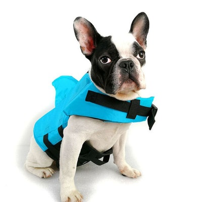 Dog Life Jacket with Shark Fin in Blue or Orange