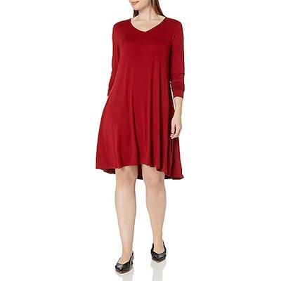 Daily Ritual Plus Size Jersey Long-Sleeve V-Neck Dress
