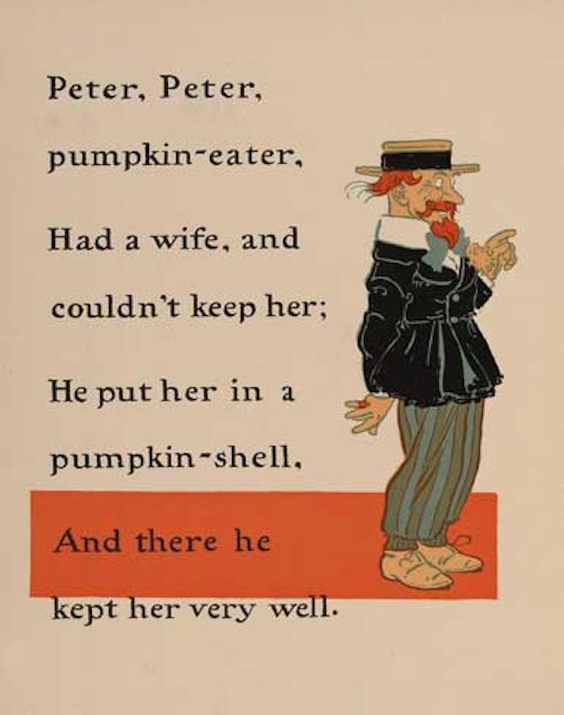 An illustration of the nursery rhyme Peter Pumpkin Eater.