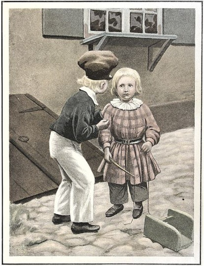 A child tells another off for being a tell-tale tit, another weird nursery rhyme.