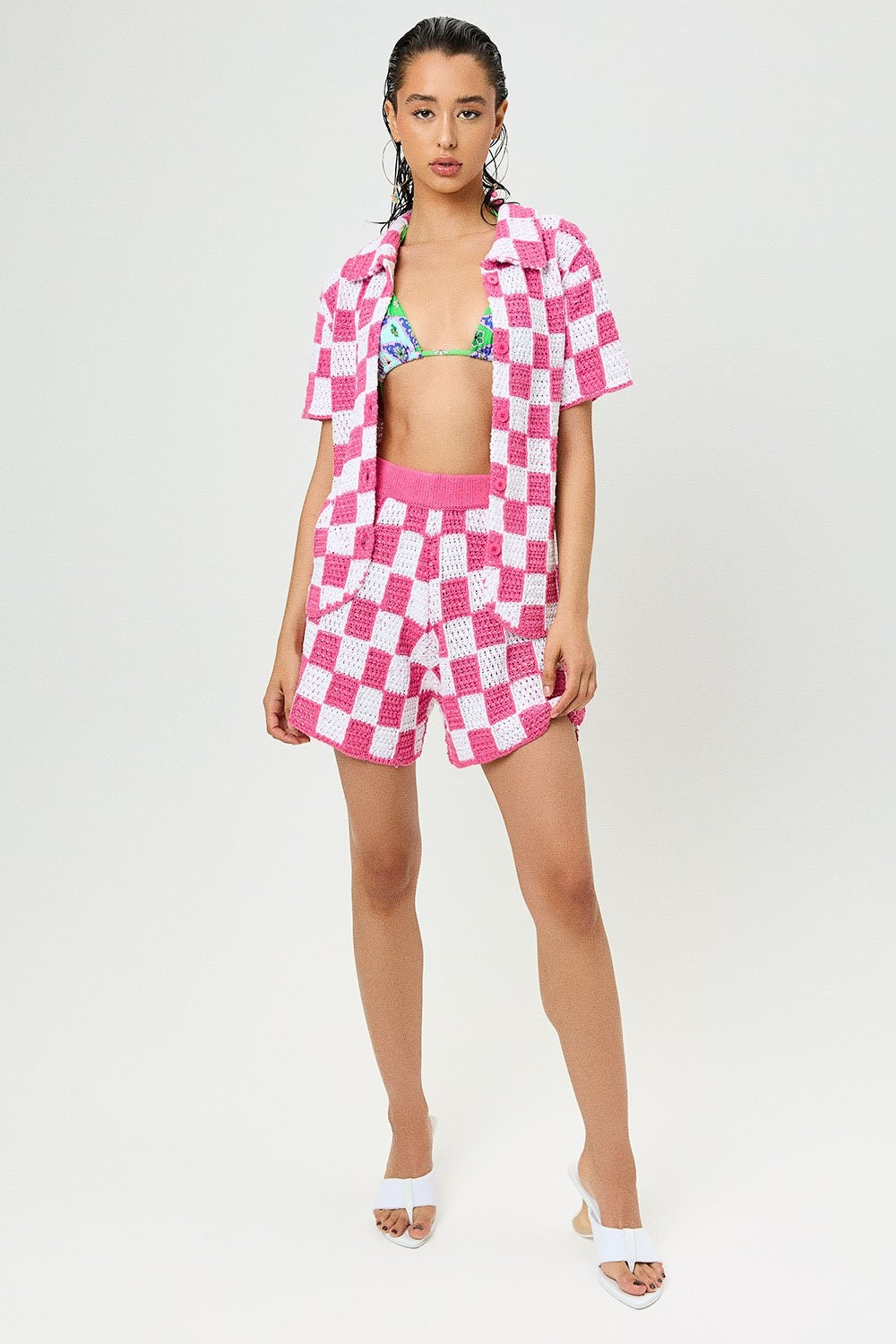 Coco Crochet Button Up Shirt in Pink Checker