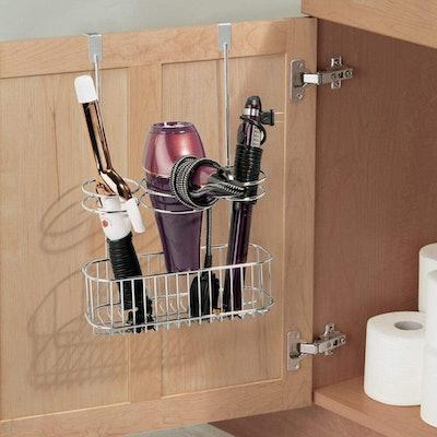 mDesign Over-Door Bathroom Hair Tool Organizer