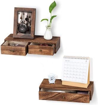 Emfogo Floating Shelf with Drawers (Set of 2)