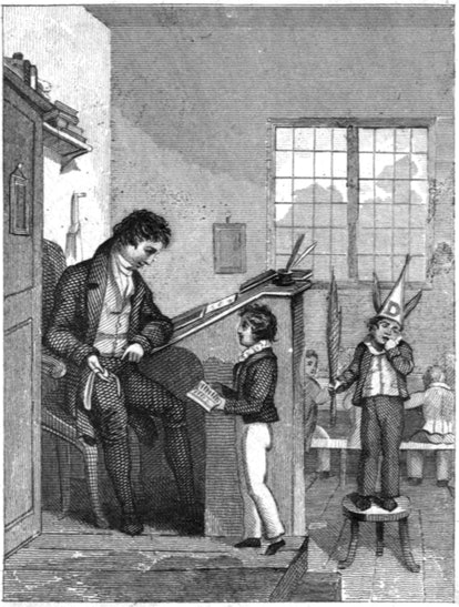 A child with a dunce's cap standing on a bench in a classroom. Little Jack Jelf is a nursery rhyme w...