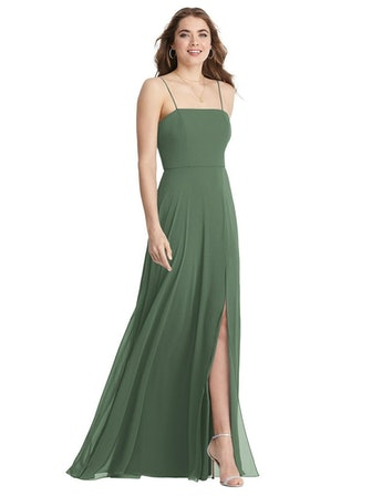 Square Neck Chiffon Maxi Dress with Front Slit