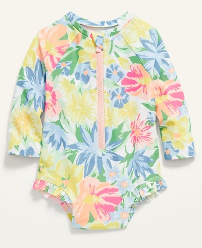Printed Zip-Front Rashguard One-Piece Swimsuit for Baby
