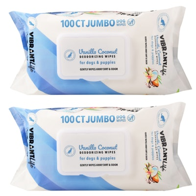 Vanilla Coconut Deodorizing Wipes for Dogs & Puppies