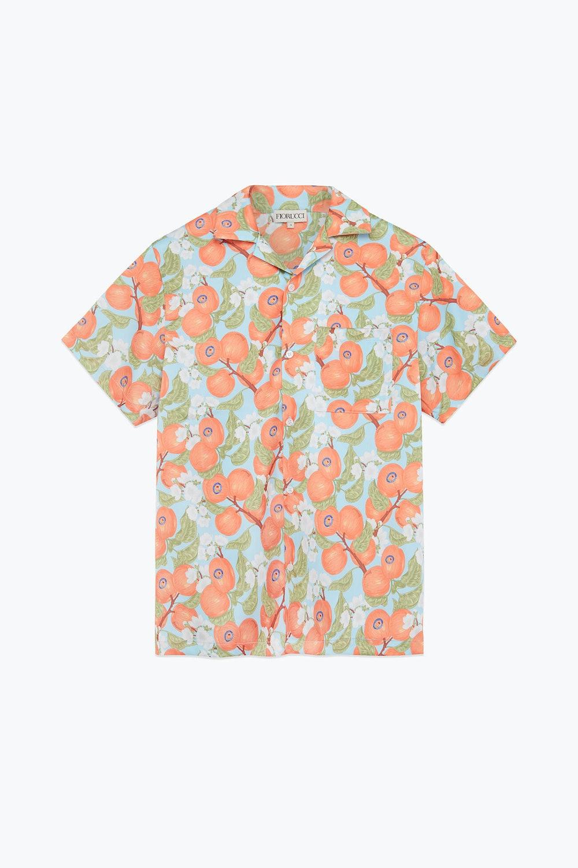 Peaches Print Pastel Short Sleeve Shirt