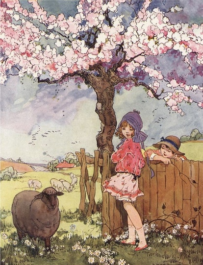 Two children ask a black sheep about its wool in a nursery rhyme.