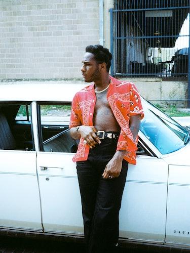 Leon Bridges wears a Bode shirt; Fresh I Am pants; his own belt and jewelry.