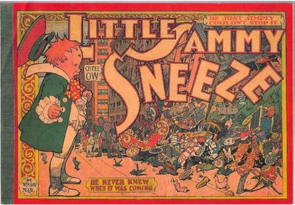 A little boy sneezing. Sneeze on a Monday, sneeze for danger is a nursery rhyme with a bizarre hidde...