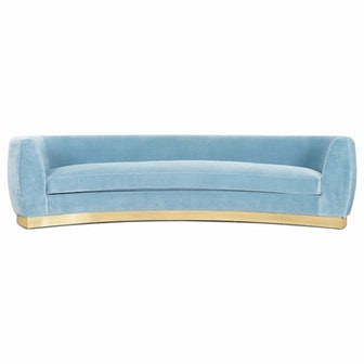 St. Germain Velvet Round Arm Curved Sofa