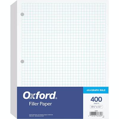Oxford Graph-Rule Loose-Leaf Filler Paper