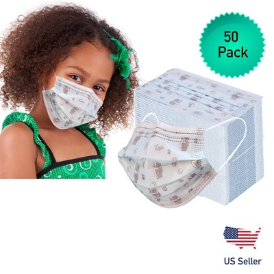 Nidy 50 Pack Disposable Kids Face Mask, Child Size, 3 Ply, Ear Loop