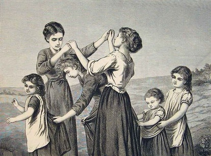 Children playing Oranges and Lemons for the bells of St Clement's, a weird nursery rhyme.