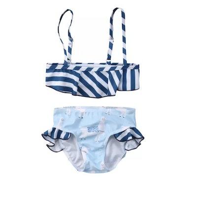 Floating Animal Stripe Baby Bikini