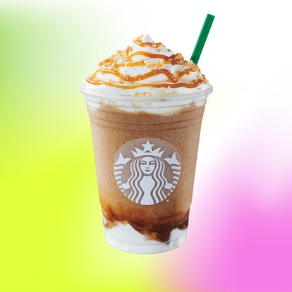 Starbucks' Caramel Ribbon Crunch Frappuccino blends rich and buttery caramel syrup with coffee and milk.