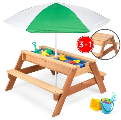 Best Choice Products Kids 3-in-1 Outdoor Wood Table