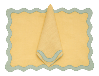 Moda Domus x Chairish Exclusive Scalloped Linen Placemat + Napkin Colorblock Set