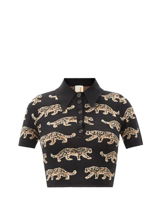 Leopard Jacquard Polo Crop Top