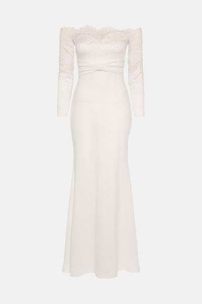 Long Sleeve Lace Bardot Bridal Maxi Dress