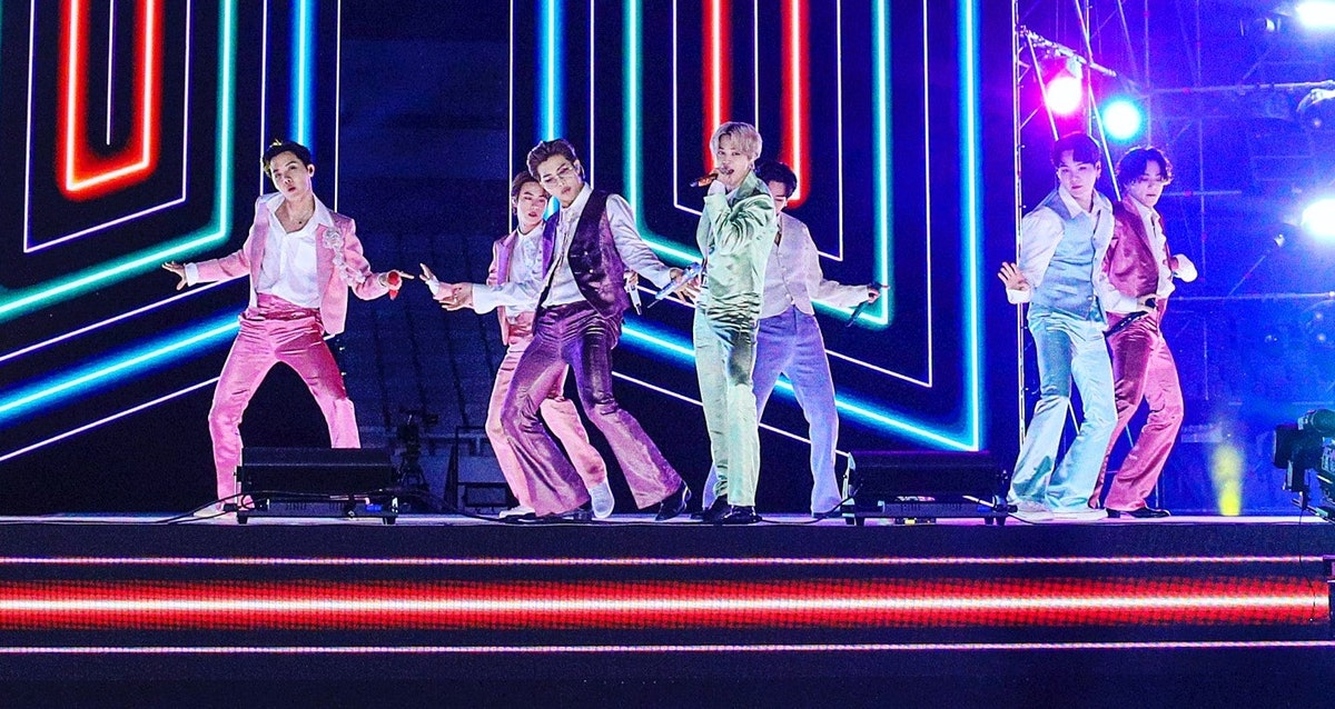 SOUTH KOREA - NOVEMBER 22: (EDITORIAL USE ONLY; NO BOOK COVERS.) In this image released on November 22, J-Hope, Jin, RM, Jimin, V, Suga, and Jungkook of BTS perform onstage for the 2020 American Music Awards on November 22, 2020 in South Korea. (Photo by Big Hit Entertainment/AMA2020/Getty Images via Getty Images)