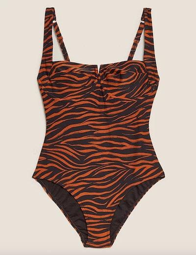 Zebra Print Wired Plunge Swimsuit