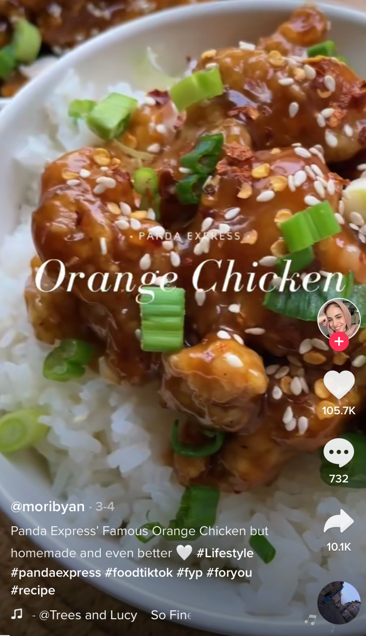 A plate of Panda Express-inspired orange chicken from TikTok sits on a table.