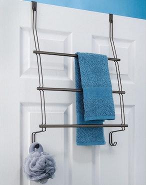 iDesign Classico Over-The-Door Towel Rack With Storage Hooks