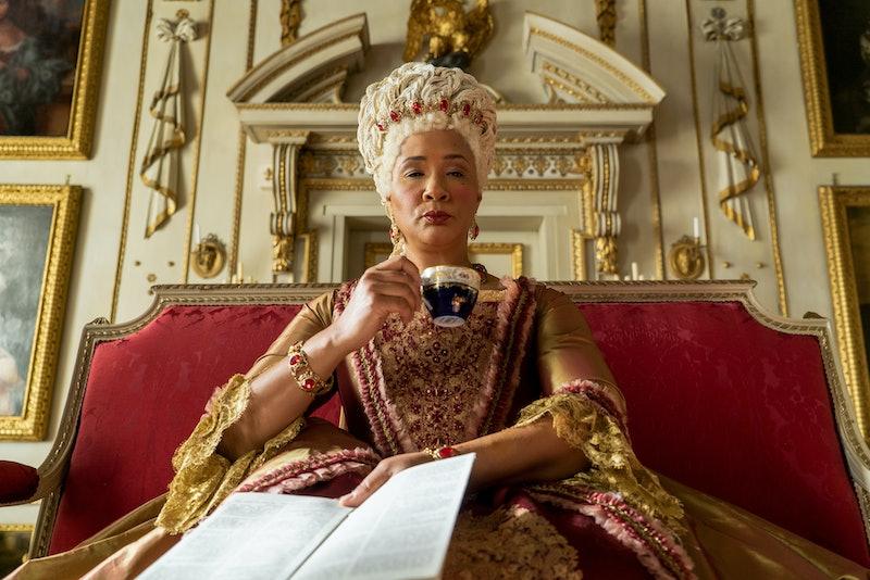 Golda Rosheuvel as Queen Charlotte in 'Bridgerton' episode 5. Photo via Netflix