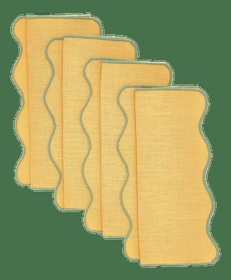 Moda Domus x Chairish Exclusive Scalloped Linen Colorblock Cocktail Napkins - Set of 4