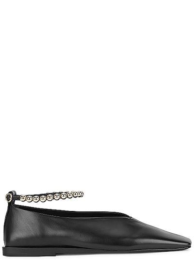 Black bead-embellished leather flats