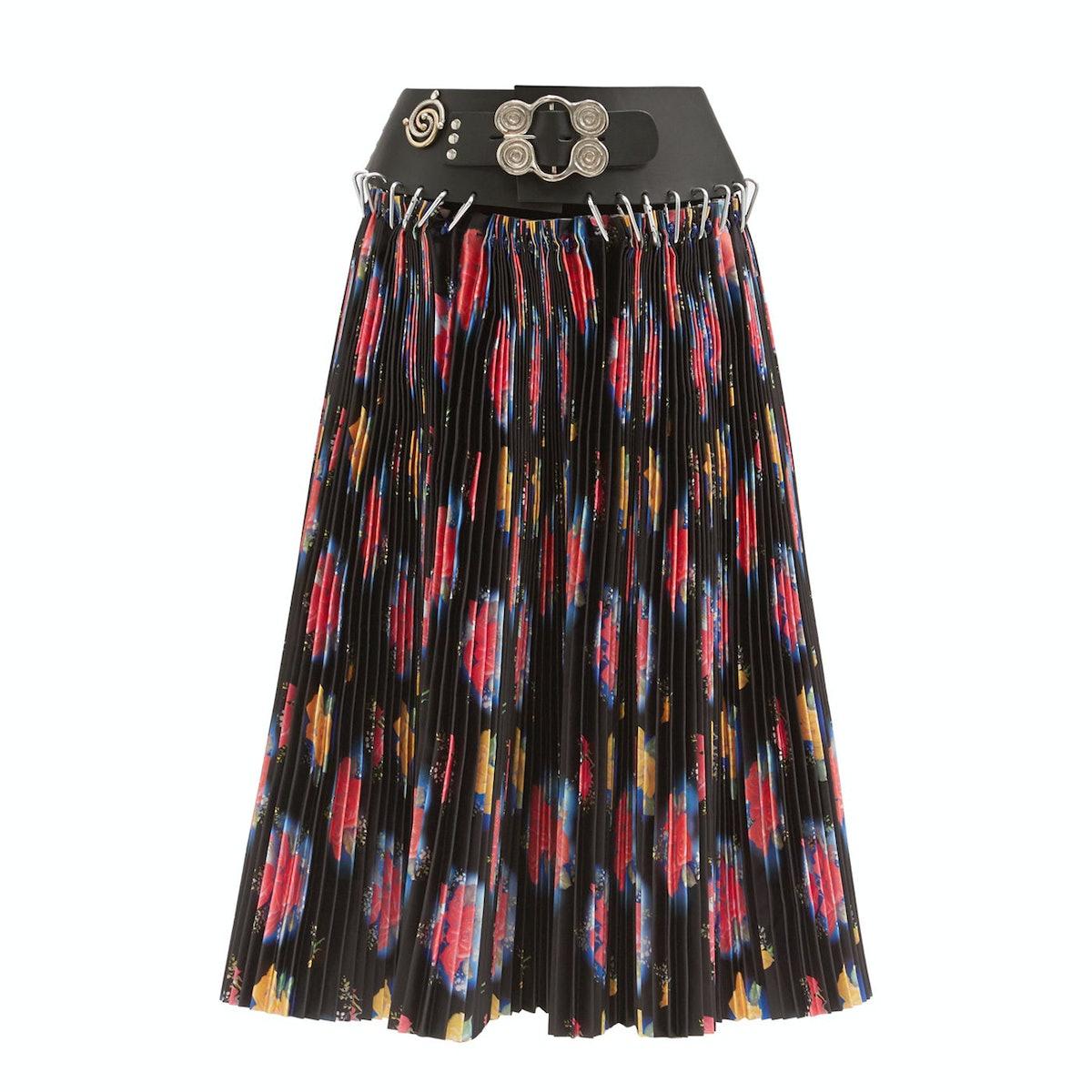 Chopova Lowena Leather-Belt Pleated Taffeta Skirt