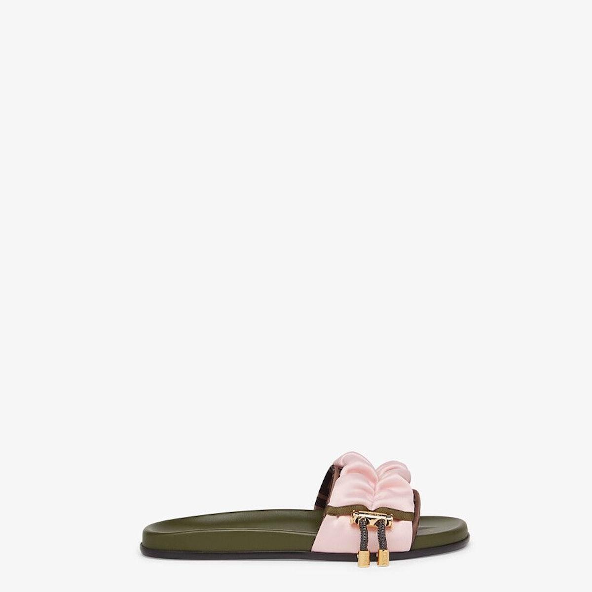 Pink Satin Vertigo Slides