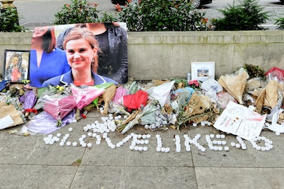 A tribute to Jo Cox outside Parliament in July 2016.