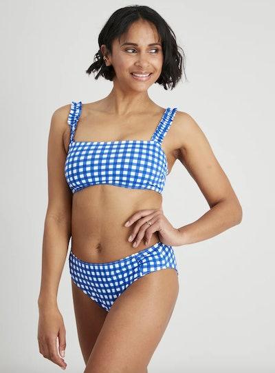 Navy Gingham Bikini Crop Top