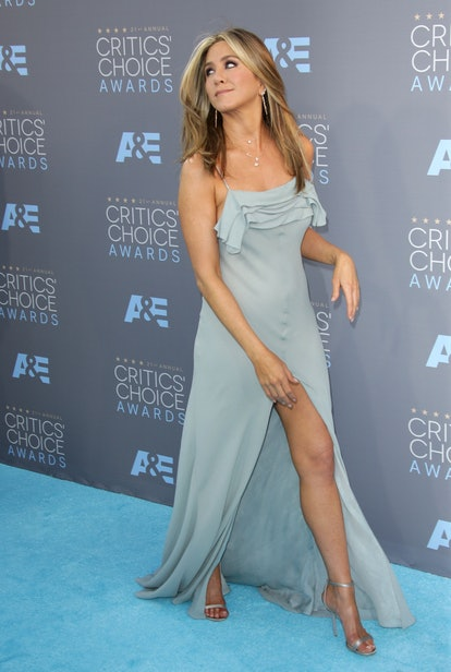 Jennifer Aniston's light blue Saint Laurent dress at the 2016 Critic's Choice Awards.