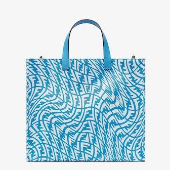 Blue Glazed Canvas Shopper