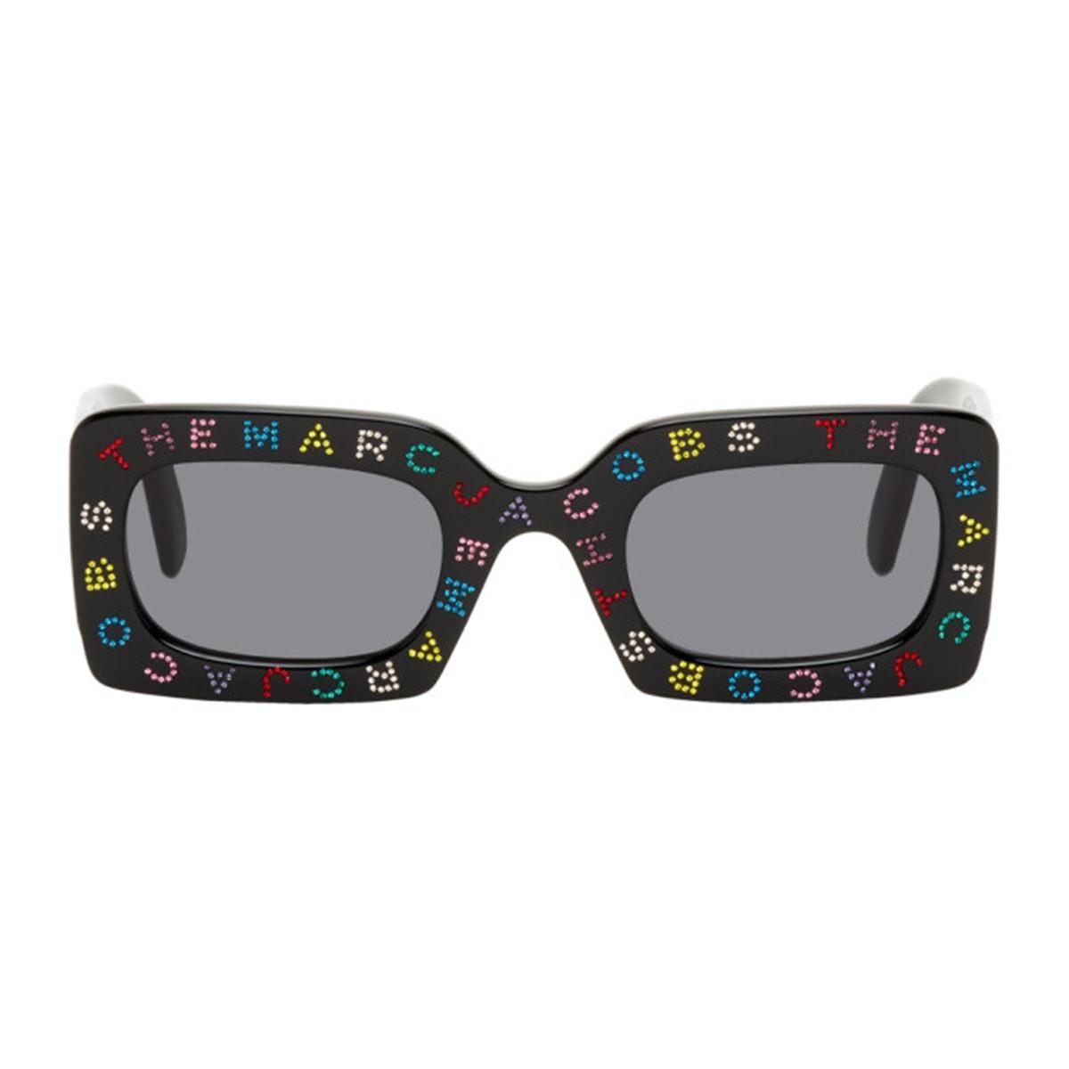 Marc Jacobs Black 'The Logo' Rectangular Sunglasses