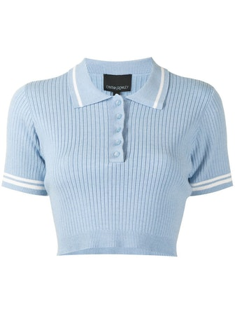 Ribbed Cropped Polo Top