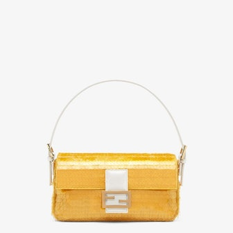 Yellow Satin Baguette 1997 Bag with Sequins