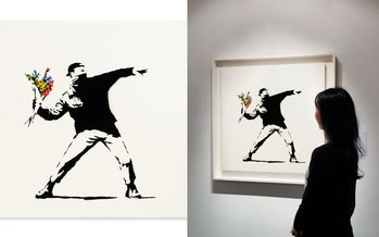 A piece by artist Banksy sold at auction for $12.9 million and can be purchased using cryptocurrency...