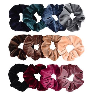 Whaline Velvet Hair Scrunchies (12-Pack)