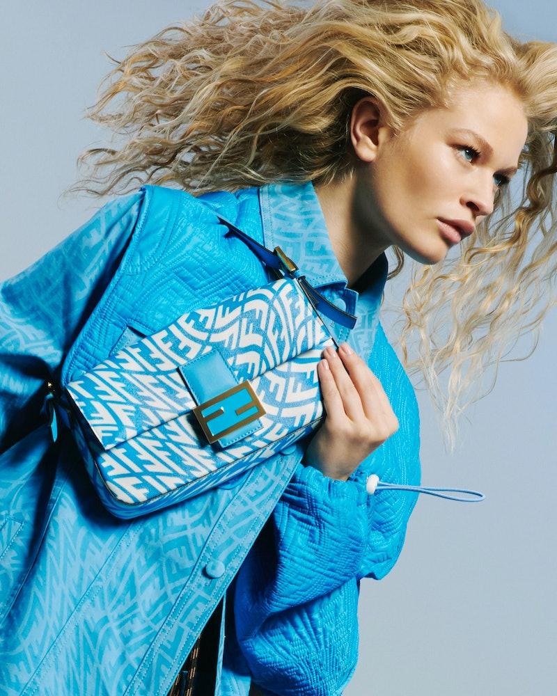 New Fendi FF Vertigo collection is full of summery, multicolored items, including the iconic Fendi Baguette bag.